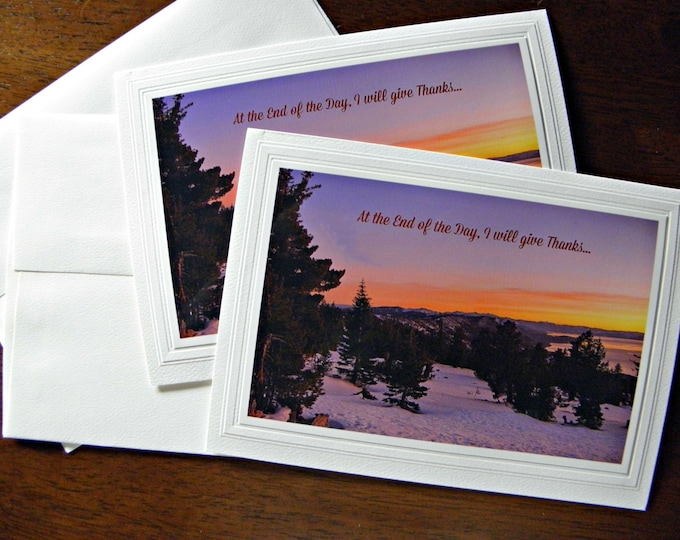Gratitude Photo Card, Lake Tahoe Sunset, Printed Text, Handmade Blank Inside Photo Stationary, Heavy Card Stock, Coordinating Envelope