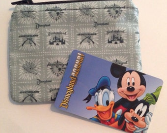 MINI Disneyland Vintage Land Logos Handmade Fabric Small Zipper Pouch/Coin Purse