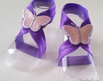 Butterfly Barefoot Sandals - Baby Girl Barefoot Sandals - Purple and Pink Barefoot Sandals for Baby Girl - Newborn Baby Girl Sandals
