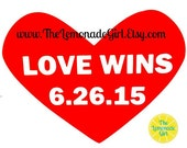 LOVE WINS, VINYL Decal, 6/26/15, Equality, Equality Decal, Marriage Equality Car Decal, Computer Decal