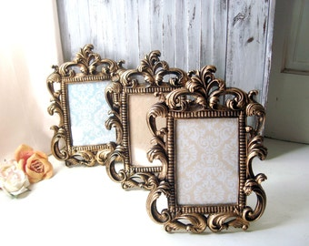 Gold Vintage Style Ornate 5 x 7 Frame, Table Number Frames, Shabby Chic Antique Gold Frame, Wedding Frame, Picture Frame, Nursery Frame