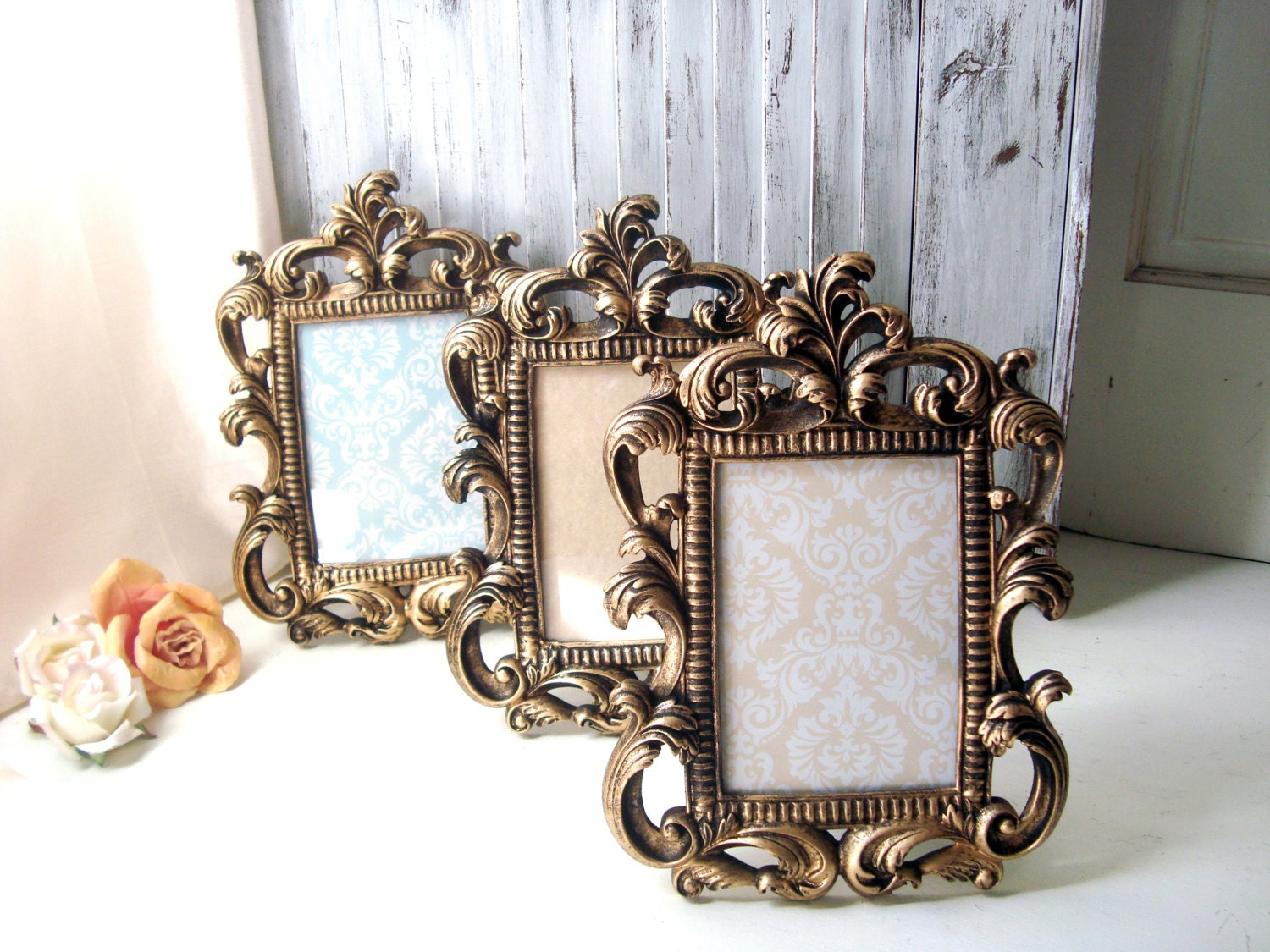 gold vintage style ornate 5 x 7 frame table number frames. Black Bedroom Furniture Sets. Home Design Ideas