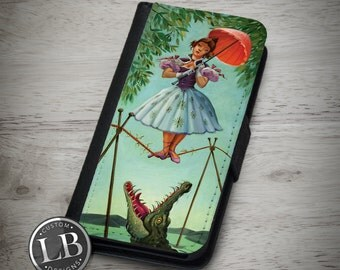 Galaxy / Note 4 Wallet Case - Haunted Mansion Stretching Room Painting Tightrope - Galaxy S3, S4, S5, S6, S6 Edge Cover - id: 33001