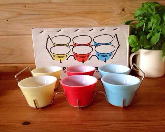 Set of 4 Mid Century Pyrex Custard Cups |Lab Custard Bowl