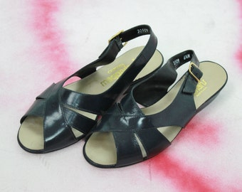 vtg 70s black leather flat sandals low block heel size 6.5 black flats slingbacks