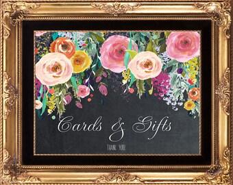 printable wedding sign, chalkboard wedding sign, cards gifts wedding sign, floral wedding sign, digital wedding sign,you print, 8x10