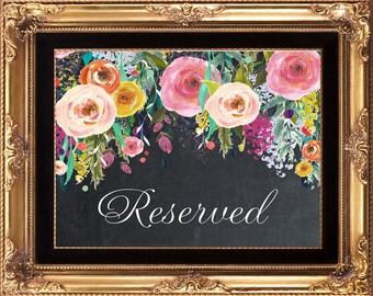 printable reserved sign, printable chalkboard wedding sign, floral reserved sign, printable wedding sign, chalkboard reserved sign, 8x10