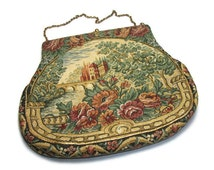 Petit Point Tapestry Clutch Purse - Jolles Originals of Austria - Vintage Collectible 30s 40s Needlepoint Landscape Evening Bag Satin Lining
