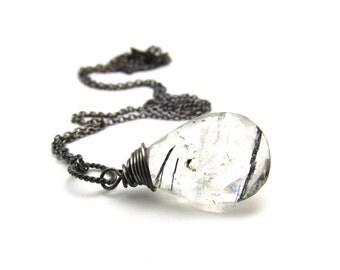 Black rutilated quartz pendant, oxidized silver rutilated quartz necklace, tourmalinated quartz jewelry, sterling silver unique pendant