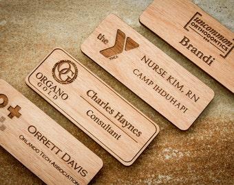 Wood Name Badge, Custom Name Badges, Engraved Name Tag with Logo, Engraved Name Badge, Magnetic Name Tag, Custom Name Tag, Wood Name Tag