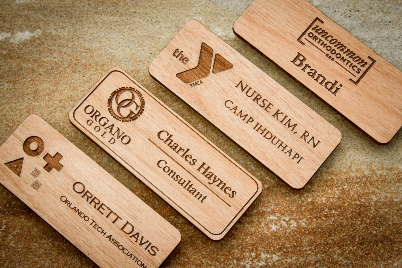 Wood Name Badge Custom Name Badges Engraved Name Tag with