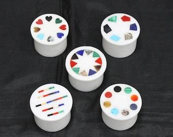 Marble Inlay Ring Boxes Pietra Dura Art Semiprecious Stones Inlaid Handmade Decoratives