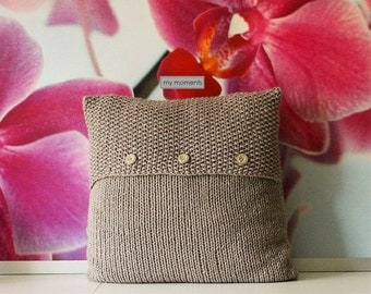 Chunky Knit Pillow Wool sand