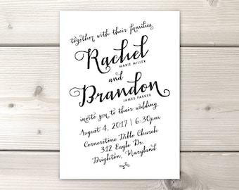 Printable Digital OR Printed Wedding Invitation (physical invitations): Simple & Pretty