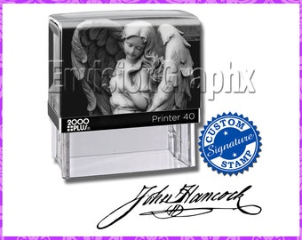 Custom Personalized Signature Self Inking Rubber Stamp Angel Theme