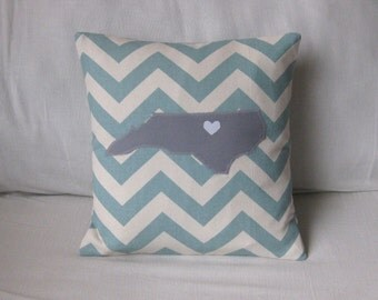 North Carolina Pillow Cover with Heart