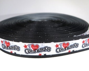 "5 yards of 7/8 inch ""I love gymnastics"" grosgrain ribbon"