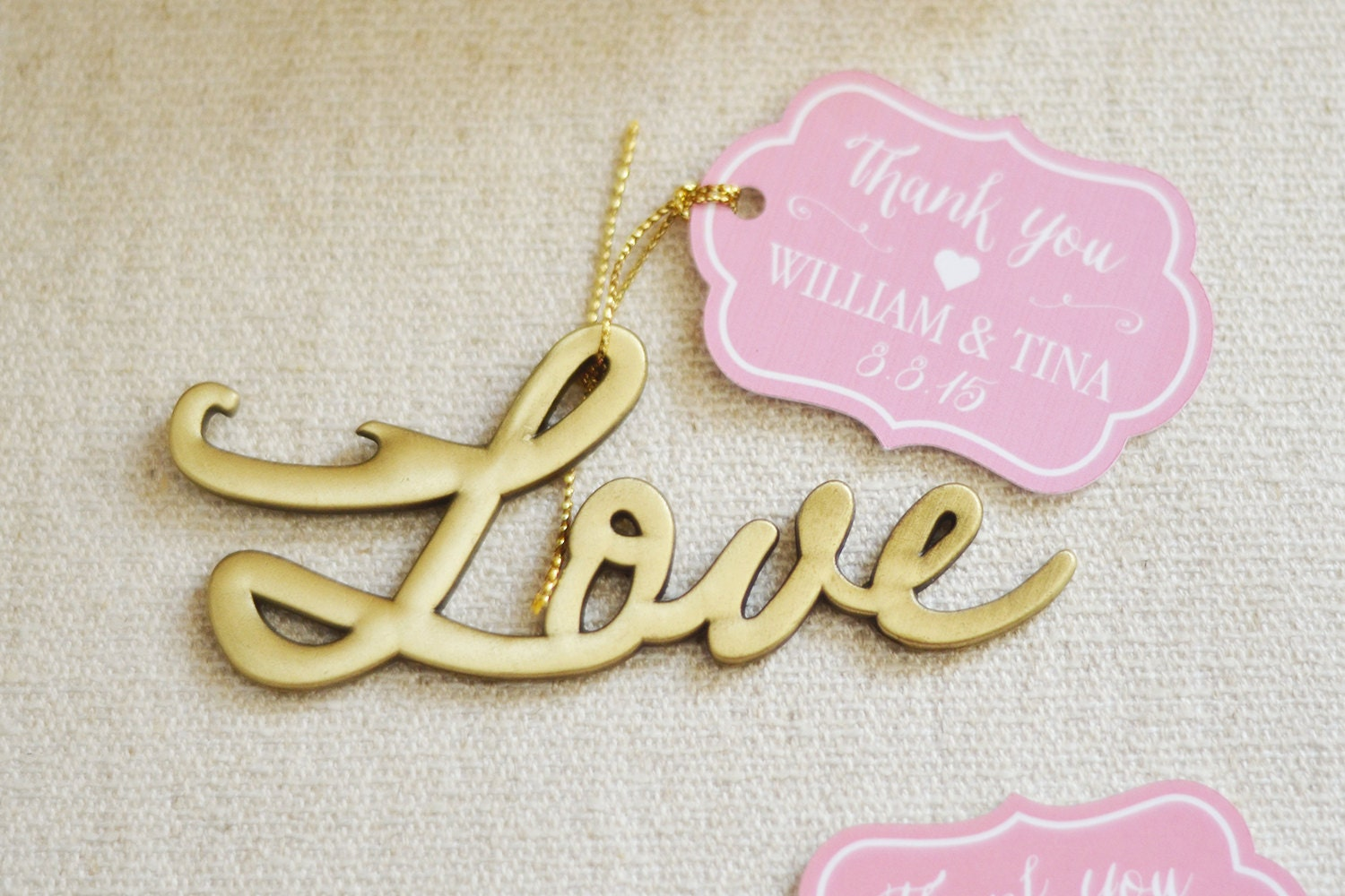 wedding favor love antique gold bottle opener with custom