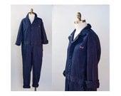 Monogrammed Navy Cotton Mechanic's Coveralls Boiler Suit 1990s Vintage // Size Medium