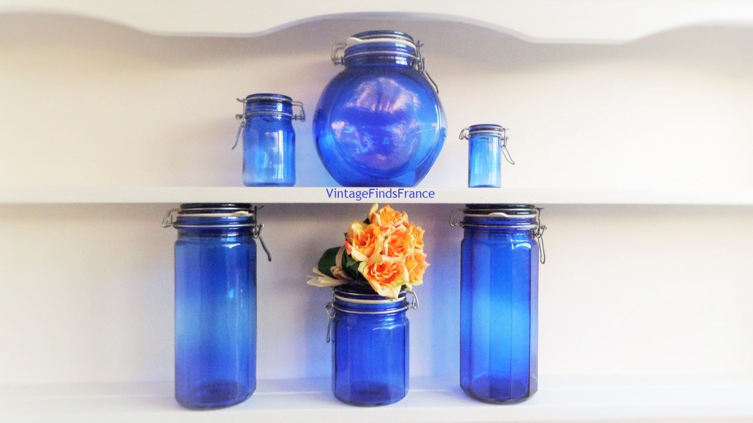 Chandeliers pendant lights - Blue glass kitchen canisters ...