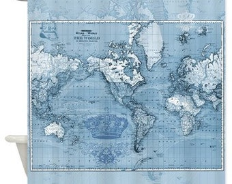 World map shower curtain frederic de wit map classic - Old world map shower curtain ...