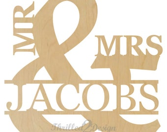 Mr & Mrs Wood Sign With Name - Wedding, Nursery, Home