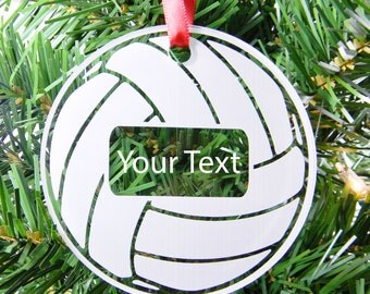 Personalized Custom Text Clear Acrylic Volleyball Christmas Tree Ornament with Red Ribbon