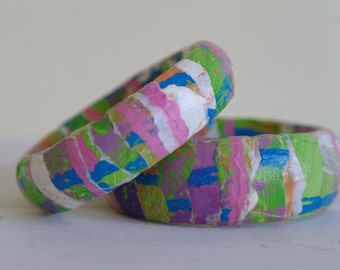 Two Colourful Abstract Bangles, Paper Bangles, Jewellery, Bangles, Bracelet.