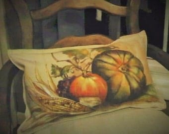 FALL Decorative Pillow Sham Pumpkin Squash Indian Corn - Hand Painted