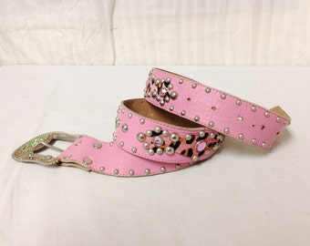 Free Ship Pink Leather Belt Studded w/Cow Fur Crystals Western Buckle