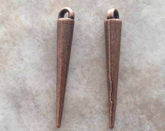 34mm Long Alloy Metal Spike Beads in Red Copper Color (i179)