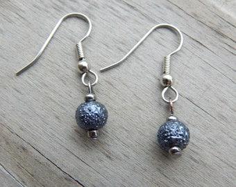 Gray Beaded Earrings - Surgical Steel Fish Hook Earrings