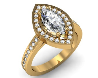 14K Yellow Gold Marquise Cut Diamond Engagement Ring 1.10ct. tw.