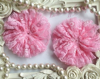 "Set of 2 Pink - 3"" Unfinished LACE Ballerina Flowers - Lace Ballerina Flowers - Unfinished Flowers - DIY Headbands Supply"