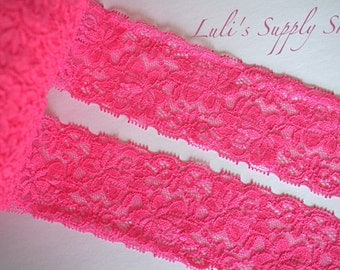 """Hot Pink Elastic Lace - 2.5"""" Elastic Lace Ribbon - Lace by the yard - Elastic Lace - Lace FOE - Stretch Lace - Stretchy Hot Pink Lace Trim"""