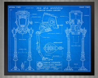Star Wars Blueprint Style - AT-ST Scout Walker: 8 x 10 print