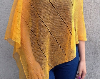 Pure Linen Poncho Cape Yellow Wrap Ponho Linen Sweater Pancho Linen Cape Scarf Knit Shawl Modern Clothing Accessories Overlay Top For Women