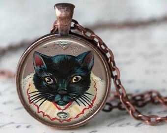 BLACK CAT Necklace Pendant Black kitten halloween Cat Lover Jewerly Vintage Black Cat Peeking Cat jewerly Black Cat Pendant