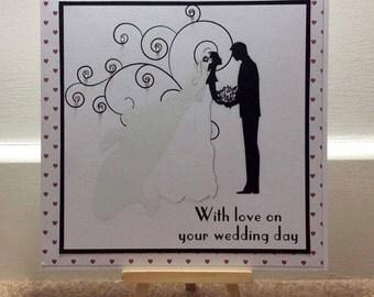 Handmade Wedding Day Congratulations Card, Personalised Bride & Groom Wedding Card, Personalised Handmade Wedding Day Congratulations Card,