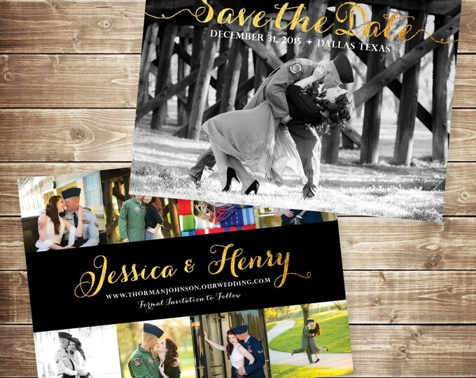 5x7 Vintage Gold Glitter and Black Save The Date Card with Multiple Photos