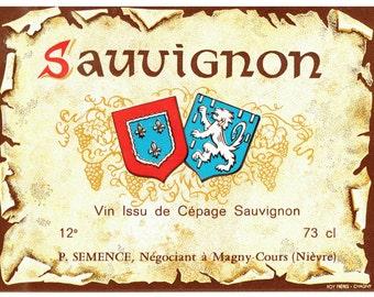 Sauvignon Wine Labels - 6 Vintage French Unused Colored Wine Labels - Art Paper Supplies - French Decor - Cellar Decor