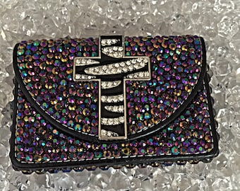 Black business card holder, business card holdler with a cross, blinged out business card holder, custom business card holder, business card