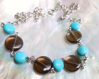 925 sterling Silver, Turquoise and Smoky Quartz necklace