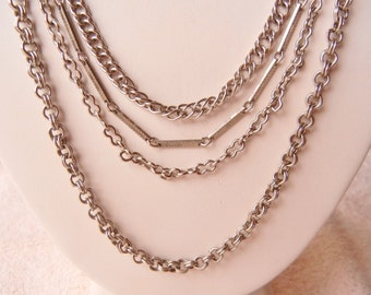 10% OFF Necklace 4 Strand Chains Silver Tone Vintage 1950s Excellent Condition SHIPPING SPECIAL 0801 8717