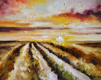 Original Impressionist Painting, Oil Landscape, Countryside Sunset Painting 6x6 Inch