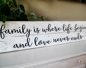 "Family Sign, 40""x10""  Wood Pallet Sign, Inspirational Sign, Quote Sign, Wood Signs, Wooden Sign, Distressed Sign, Pallet Sign, Wall Decor"