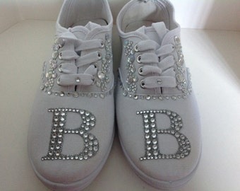 sneakers bridal sneakers wedding shoes bat mitzvah rhinestone