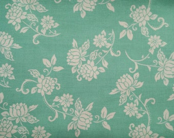 White floral on Teal Background - Cotton Woven Fabric