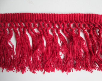 "Red Fringe 4 1/2"" Cotton Trim 2-12 Yds Home Decor Crafting"