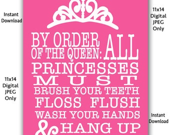Pink Girls Bathroom Wall Art Family Rules Printable art Princess art decor Wash Hands Brush Teeth Flush 11x14 D.I.Y. Instant Download 116